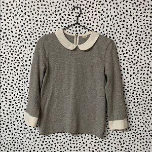 J. Crew Peter Pan Collar Gray Sweater